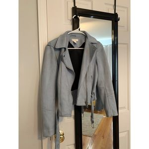 Light Blue/Grey Biker Jacket